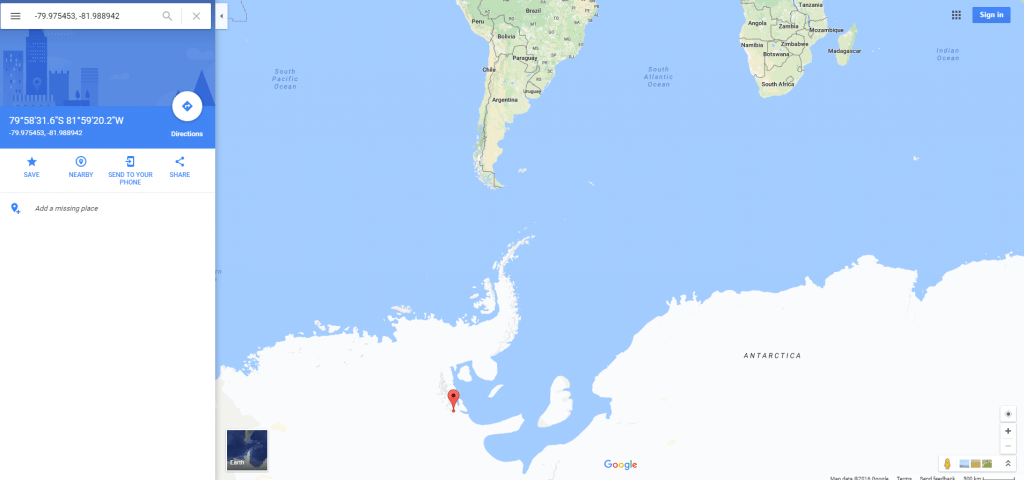Location of the pyramids in Antarctica on an atlas